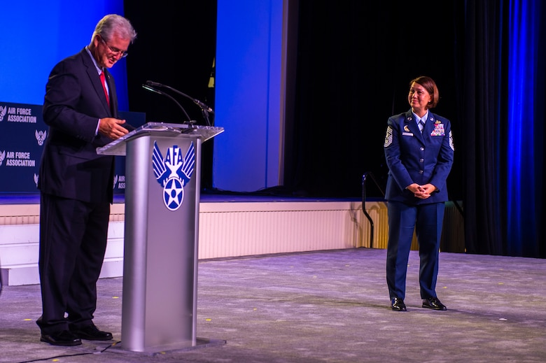 Gerald Murray, Air Force Association chairman and the 14th Chief Master Sgt. of the Air Force speaks with Chief Master Sgt. of the Air Force JoAnne S. Bass