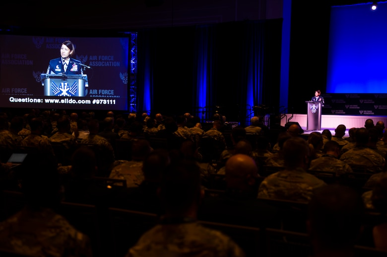 Chief Master Sgt. of the Air Force JoAnne S. Bass delivers remarks and recognizes the 12 Outstanding Airmen of the Year during the 2021 Air Force Association Air, Space and Cyber Conference in National Harbor, Md., Sept. 20, 2021.