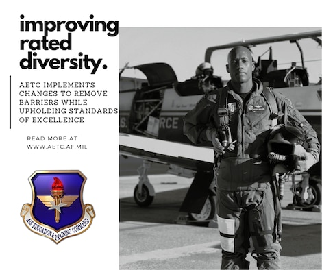 """graphic of African American pilot posing in front of a T-6 Texan air frame with text stating """"improving rated diversity."""