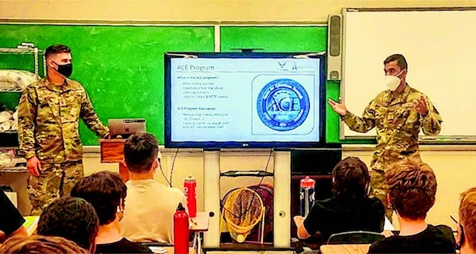 Tilak Bhatnagar (right) shared his experience in the ACE program to a group of Civil Air Patrol cadets in August.