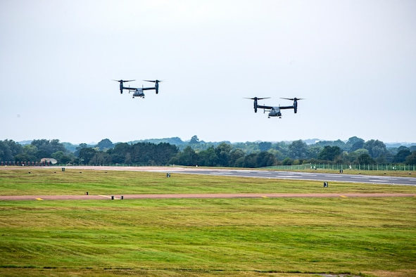 Two CV-22A Ospreys assigned to the 352d Special Operations Wing approach for landing during an Agile Combat Employment exercise at RAF Fairford, England, Sept. 13, 2021. Airmen from the 501st Combat Support Wing, 100th Air Refueling Wing and 352d SOW partnered to conduct an ACE exercise to test their overall readiness and lethality capabilities. ACE ensures Airmen and aircrews are postured to deliver lethal combat power across the full spectrum of military operations. (U.S. Air Force photo by Senior Airman Eugene Oliver)