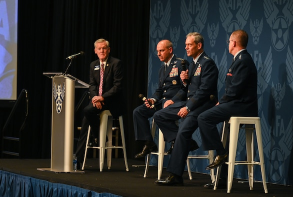 Gen. Ken Wilsbach, Pacific Air Forces commander, shared his commander's perspective as a guest panelist for the Air Force Association's Agile Combat Employment panel during Air Force Association's Air, Space and Cyber Conference, Washington D.C., Sept. 20, 2021. The dispersal of forces in a hub and spoke model allows the U.S. Air Force to be more resilient and to challenge China in a matter that's operationally unpredictable, but strategically predictable. (U.S. Air Force photo by Tech. Sgt. Jimmie D. Pike)