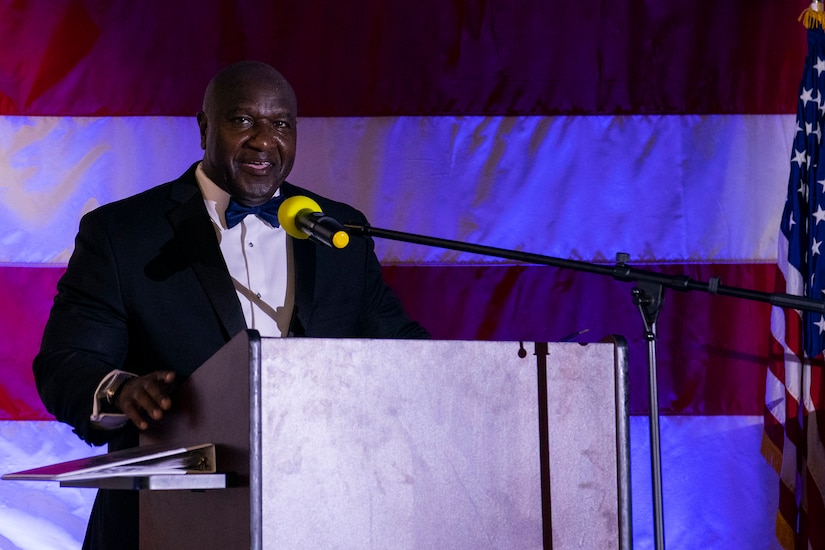 Retired U.S. Army Command Sgt. Maj. Patrick Alston, was the keynote speaker during the Air Force Ball aboard the USS YORKTOWN at Patriot's Point, Mount Pleasant, South Carolina, Sept. 17, 2021. Alston was the Senior Enlisted Leader for the United States Strategic Command Offutt Air Force Base, Neb.