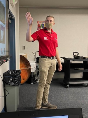 TAM's Garrison Myer presents Engineering for students attending the STARBASE Academy Winchester, on Sept. 20, 2021. About 20 4th grade students from John Kerr Elementary School in Winchester built bridges and enjoyed the weight-bearing competition afterwards.