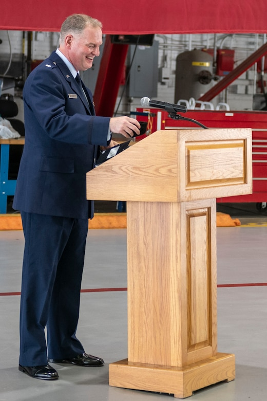 Lt. Col. Daniel Davis, 932nd Airlift Wing, incoming Operations Group commander, speaks during the 932nd Ops Group assumption of command ceremony, Scott Air Force Base, Illinois, Sept. 11, 2021. Davis joins the 932nd Ops Group from Tanker/Operations Support Airlift Requirements Office of the Air Force Reserve Headquarters, where he served as the chief. (U.S. Air Force Photo by Staff Sgt. Brooke Spenner)