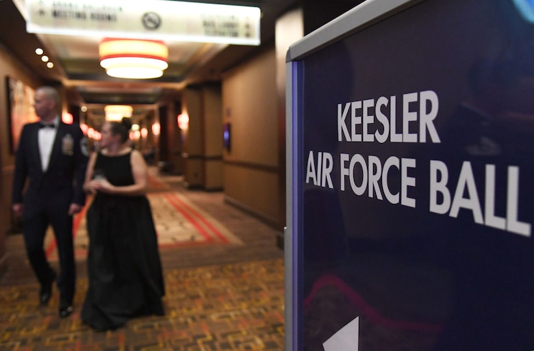 Keesler personnel attend the Keesler Air Force Ball inside the Golden Nugget Casino, Biloxi, Mississippi, Sept. 18, 2021. The event, which celebrated the Air Force�s 74th birthday, also included a cake cutting ceremony. (U.S. Air Force photo by Kemberly Groue)