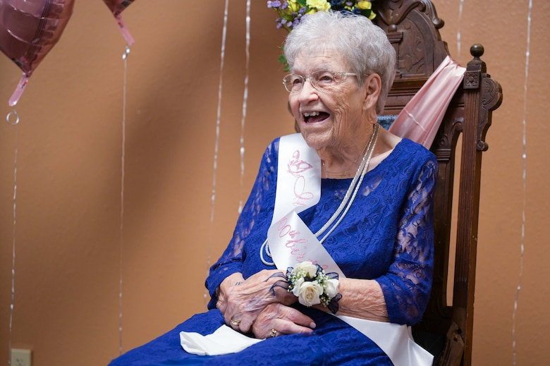 Fran Harris, former secretary for the Base Supply commander at Ellsworth Air Force Base, S.D., enjoys her 100th Birthday party at Rapid City, S.D., Sept. 11, 2021.
