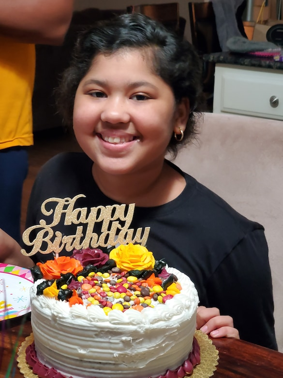 Jayda SoileauGobert, Tech. Sgt. Justin SoileauGobert's daughter, poses with a birthday cake in Abilene, Texas, Nov. 15, 2020.Although diagnosed with acute lymphoblastic leukemia on July 14, 2019.