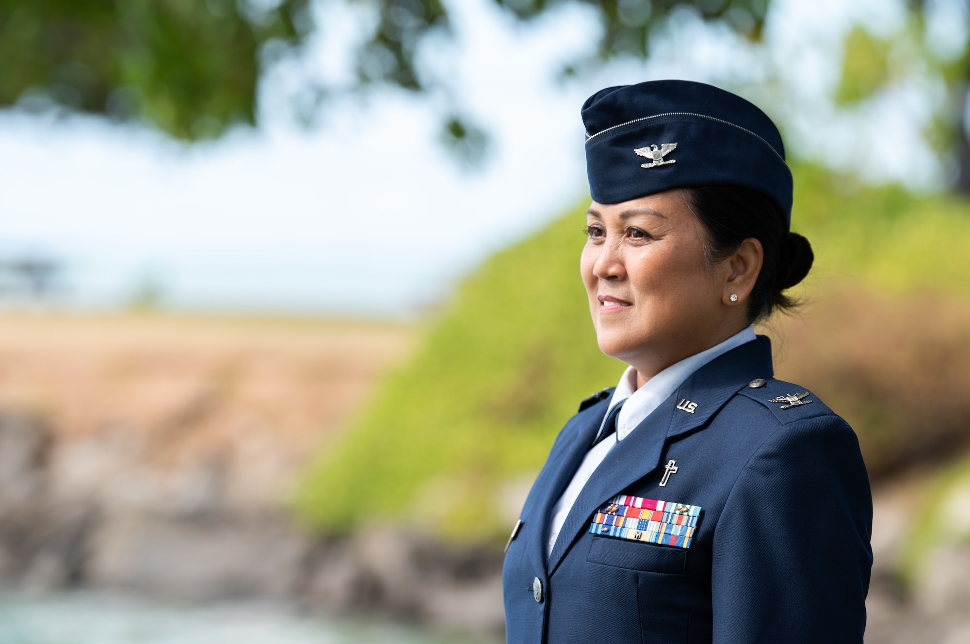 Col. Leah Boling, 154th Wing chaplain, delivers a virtual prayer invocation June 2, 2021, at Joint Base Pearl Harbor-Hickam-Hawaii. Boling became the first Asian American and Pacific Islander female promoted to the rank of colonel within the U.S. Air Force Chaplain Corps. (U.S. Air National Guard photo by Staff Sgt. John Linzmeier)
