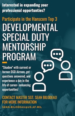 The Hanscom Top 3 Council has established a mentorship program for Airmen at Hanscom Air Force Base, Mass., interested in developmental special duties. (U.S. Air Force graphic by Lauren Russell)