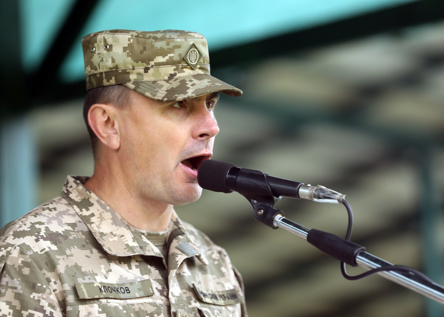 Ukrainian Brig. Gen. Vladyslav Klochkov, co-director of Rapid Trident 21 from the Ukrainian Land Forces, speaks to a multinational force during the opening ceremony for Rapid Trident 21, an annual Ukrainian-American training exercise, Sept. 20, at Central City Stadium, near Yavoriv, Ukraine.