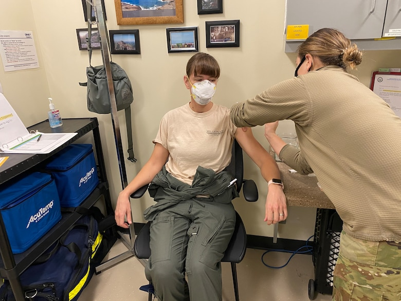A member of the 128th Air Refueling Wing receives the COVID-19 Vaccine here at 128th Air Refueling Wing, Milwaukee, Feb. 7, 2020. The 128th Air Refueling Wing has begun the distribution of the COVID-19 vaccine in coordination with the U.S. Department of Defense's Operation Warp Speed. (U.S. Air National Guard photo by Master Sgt. Kellen Kroening)