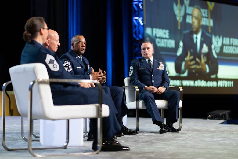 Chief Master Sgt. Timothy White speaks during the 2021 Air, Space & Cyberspace Conference Senior Enlisted Panel