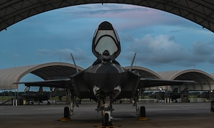 F-35A Lightning II prepares for takeoff during night flying operations.