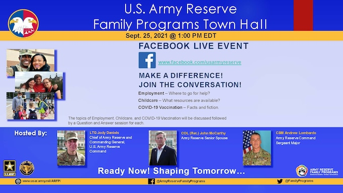The U.S. Army Reserves hosts a Family Programs Town Hall
