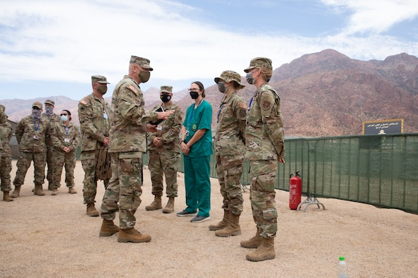 U.S. Army Maj. Gen. Michael Turley, adjutant general Utah National Guard, thanks Airmen working at Military Medical Surgical Field Hospital in Tafraoute, Morocco, June 16, 2021, as part of U.S. Africa Command's African Lion 2021 exercise.