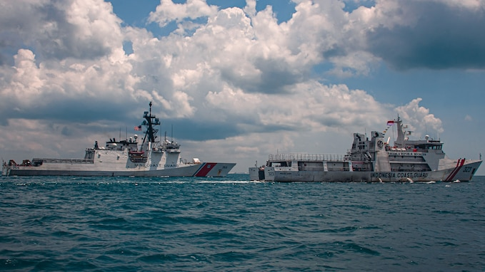 U.S. Coast Guard cutter trains with Indonesia's Maritime Security Agency