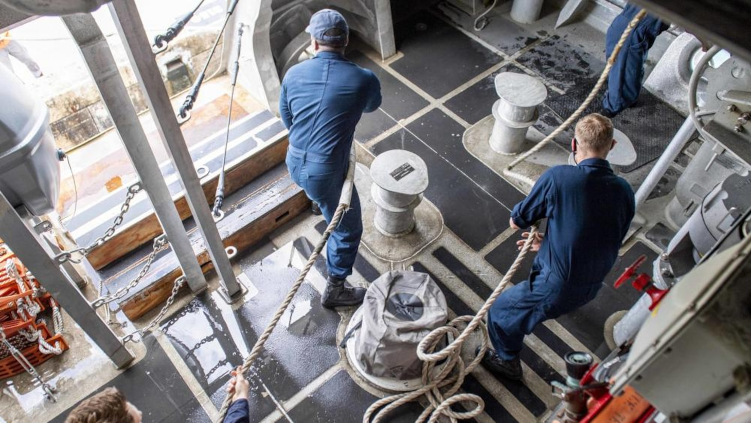 USS Charleston Sailors participate in a Sea and Anchor Evolution