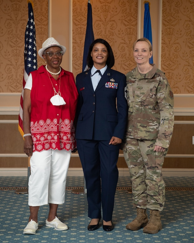 From left, Retired Senior Master Sgt. Dorothy May Tatem, Chief Master Sgt. Lawanda Jackson, 192nd Support Squadron Mobility Flight chief, and Brig. Gen. Toni M. Lord, Air Component Commander for the Virginia National Guard, pose for a photo at Jackson's promotion ceremony on July 10, 20221, at Joint Base Langley-Eustis, Virginia. Tatem was the first Black woman to enlist into the VaANG, Jackson the first Black female to make chief and Lord the first female to serve as ACC. (U.S. Air National Guard photo by Staff Sgt. Bryan Myhr)