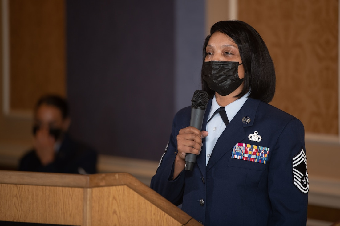 Chief Master Sgt. Lawanda Jackson, 192nd Support Squadron Mobility Flight chief, addresses the audience in attendance at her promotion ceremony on July 10, 20221, at Joint Base Langley-Eustis, Virginia. She was the first Black woman to be promoted to chief in the history of the Virginia Air National Guard. (U.S. Air National Guard photo by Tech. Sgt. Eugene Silvers)