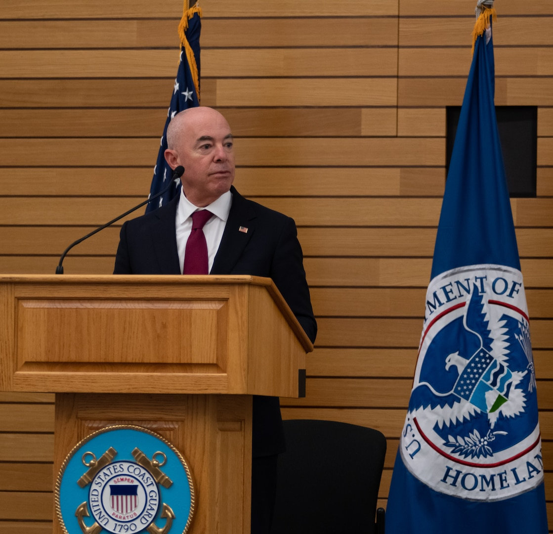 DHS Secretary Alejandro Mayorkas at podium for 2021 NHHM event