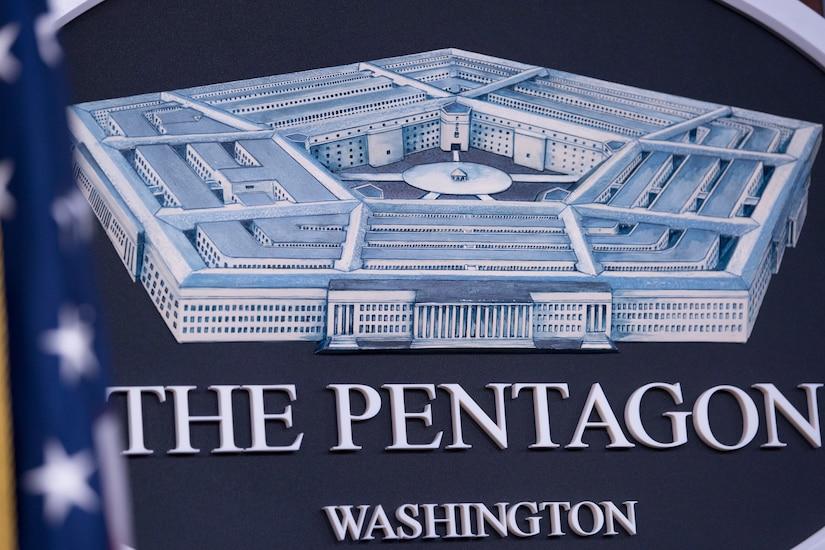 Pentagon Briefing Room seal.