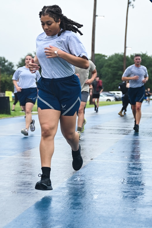 Barksdale Airmen run at the Laps For Life event at Barksdale Air Force Base, Louisiana, Sep. 17, 2021.
