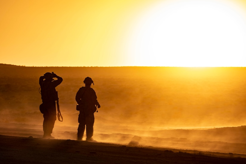 Soldiers look at the sun on the horizon.