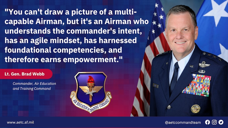 picture of Lt Gen Webb with quote