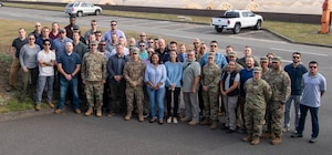 Col. Terrence M. Joyce, Office of Special Investigations Field Investigations Region 5 Commander, third from left in front row, is joined by members of one of the two 5 FIR Screening Teams assembled at Ramstein Air Base, Germany, to support Operation Allies Refuge. (Photo submitted by 5 FIR)