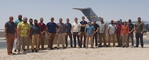 Members of the Office of Special Investigations 2nd Field Investigations Region's 24th Expeditionary Field Investigations Squadron/Detachment 241 Screening Team assembled at Al Udeid Air Base, Qatar, to support Operation Allies Refuge. (Photo submitted by 2 FIR)