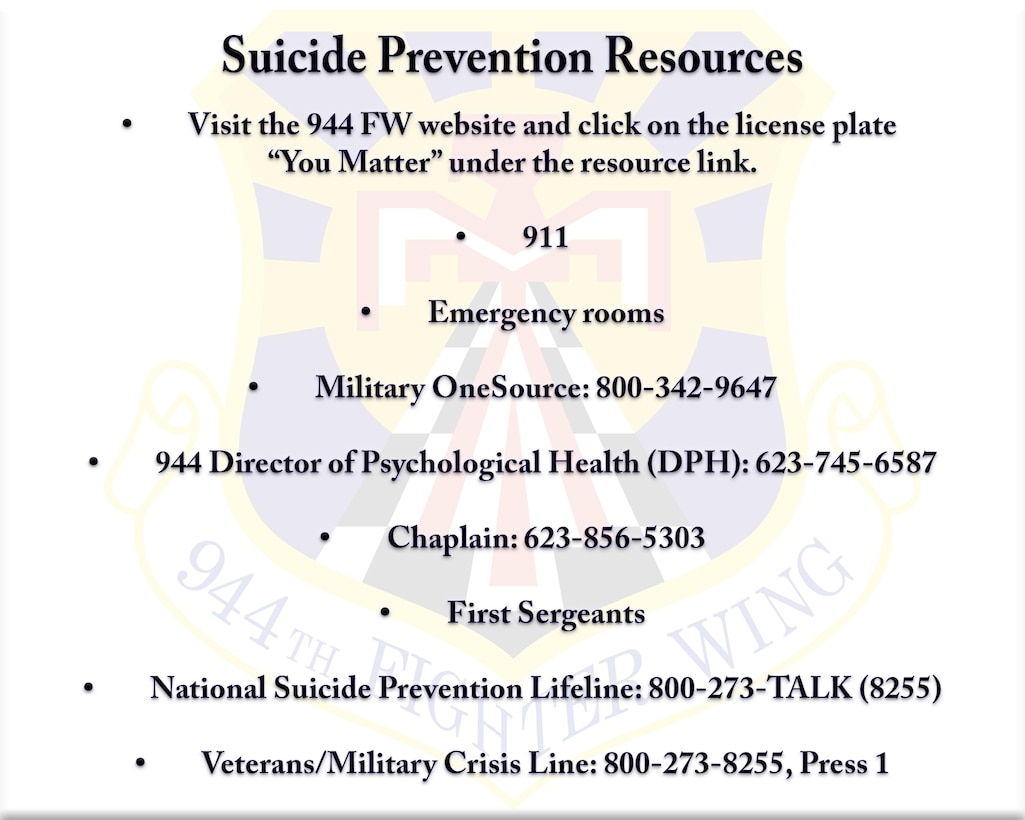 Here are some resources that are available to help you or to get help for your wingman.