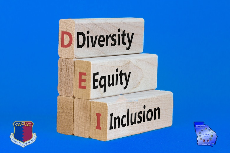 Wooden blocks with words DEI: diversity, equity, inclusion on orange background