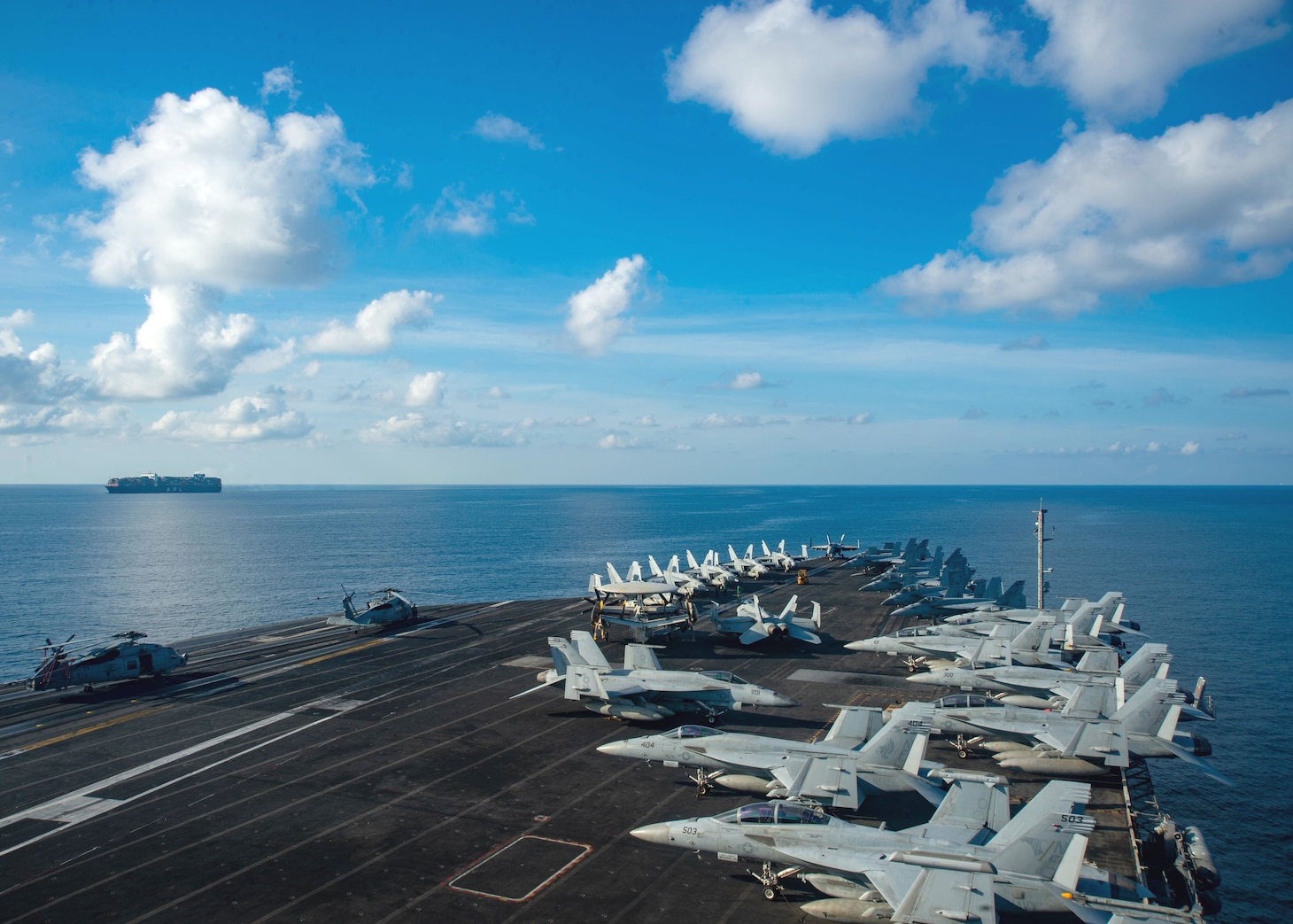 The U.S. Navy's only forward-deployed aircraft carrier USS Ronald Reagan (CVN 76) steams through international waters.