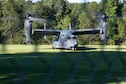 A CV-22B Osprey tiltrotor aircraft lands at the campus of Florida State University during a diversity and inclusion event hosted by administration and Air Force Special Operations Command Sept. 23, 2021. The aircraft is lauded for its ability to fly long distances and maintain a high level of maneuverability in landing and takeoffs. (U.S. Air Force photo by Staff Sgt. Rito Smith)
