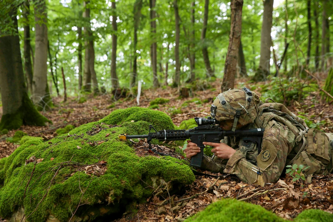 A soldier lies in a wooded area pointing a weapon.