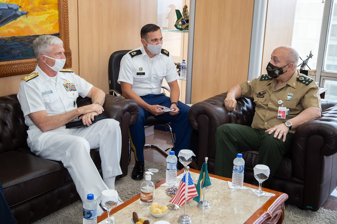 U.S. Navy Adm. Craig S. Faller, commander of U.S. Southern Command, meets with Brazil's Chief of the Joint Armed Forces Staff, Gen. Laerte de Souza Santos.