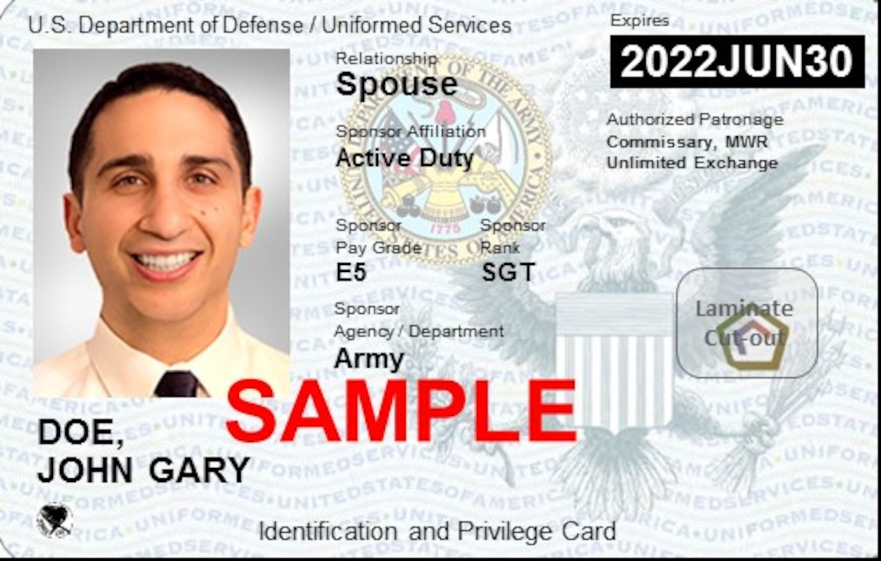 A sample ID card with photo and identifying information.