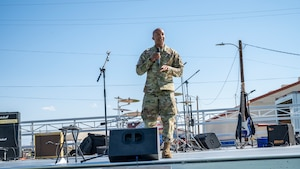 Col. Randel Gordon, 412th Test Wing Vice Commander, provides his opening remarks during the Air Force 74th Birthday picnic at Edwards Air Force Base, California, Sept. 17. (Air Force photo by Katherine Franco)