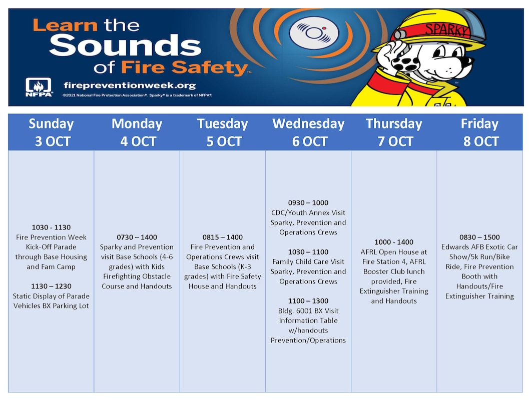 Fire Prevention Week 2021, Oct. 3-9