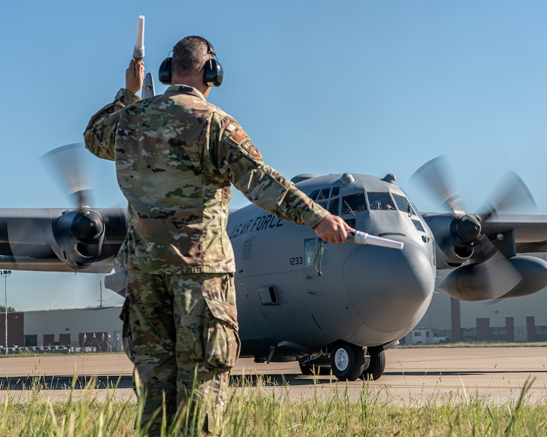The last of eight C-130 H-model aircraft departs the Kentucky Air National Guard Base in Louisville, Ky., Sept. 24, 2021, as the 123rd Airlift Wing prepares to convert to the C-130J Super Hercules. The unit is slated to begin receiving the most modern variant of the venerable transport plane on Nov. 6. In the meantime, the departing H-models — which the Kentucky Air Guard has flown since 1992 — are being transferred to the Delaware Air National Guard. Tail number 11233 has logged 9,967 hours of flight time all over the world, supporting every kind of mission from humanitarian airlift to combat resupply operations. (U.S. Air National Guard photo by Tech. Sgt. Joshua Horton)