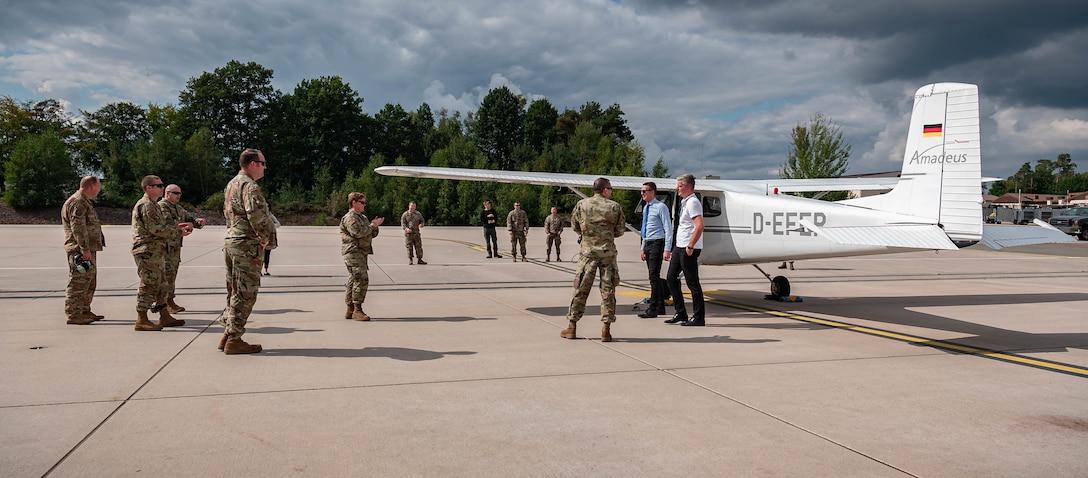 Airmen receive training on an aircraft.