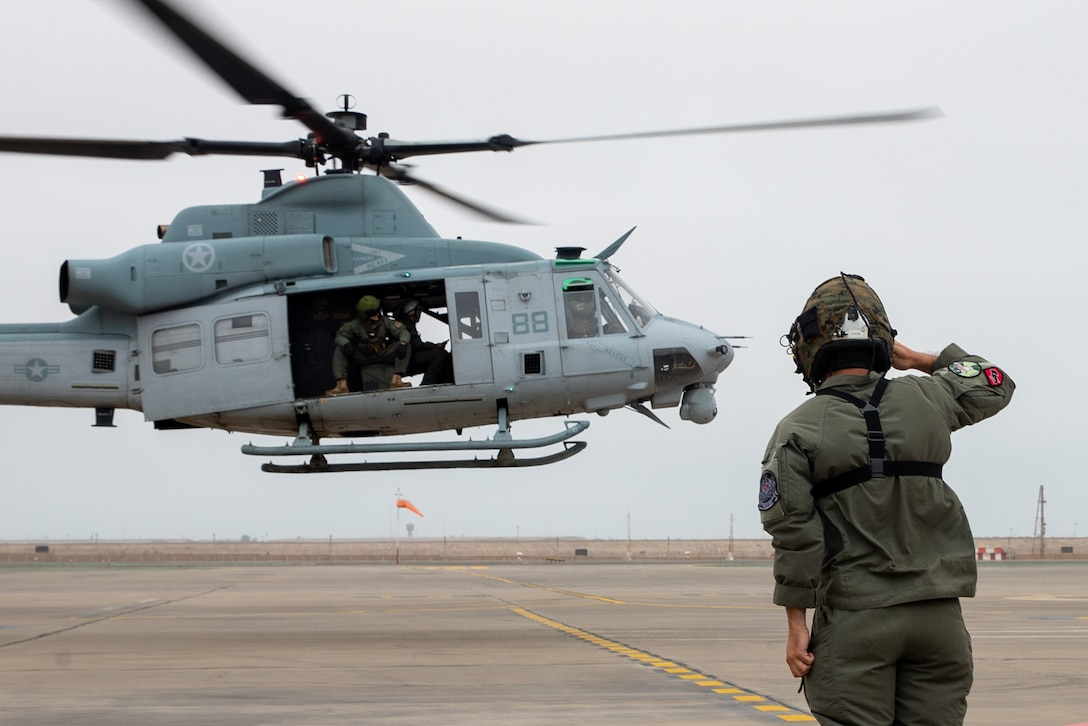 A helicopter nears landing.