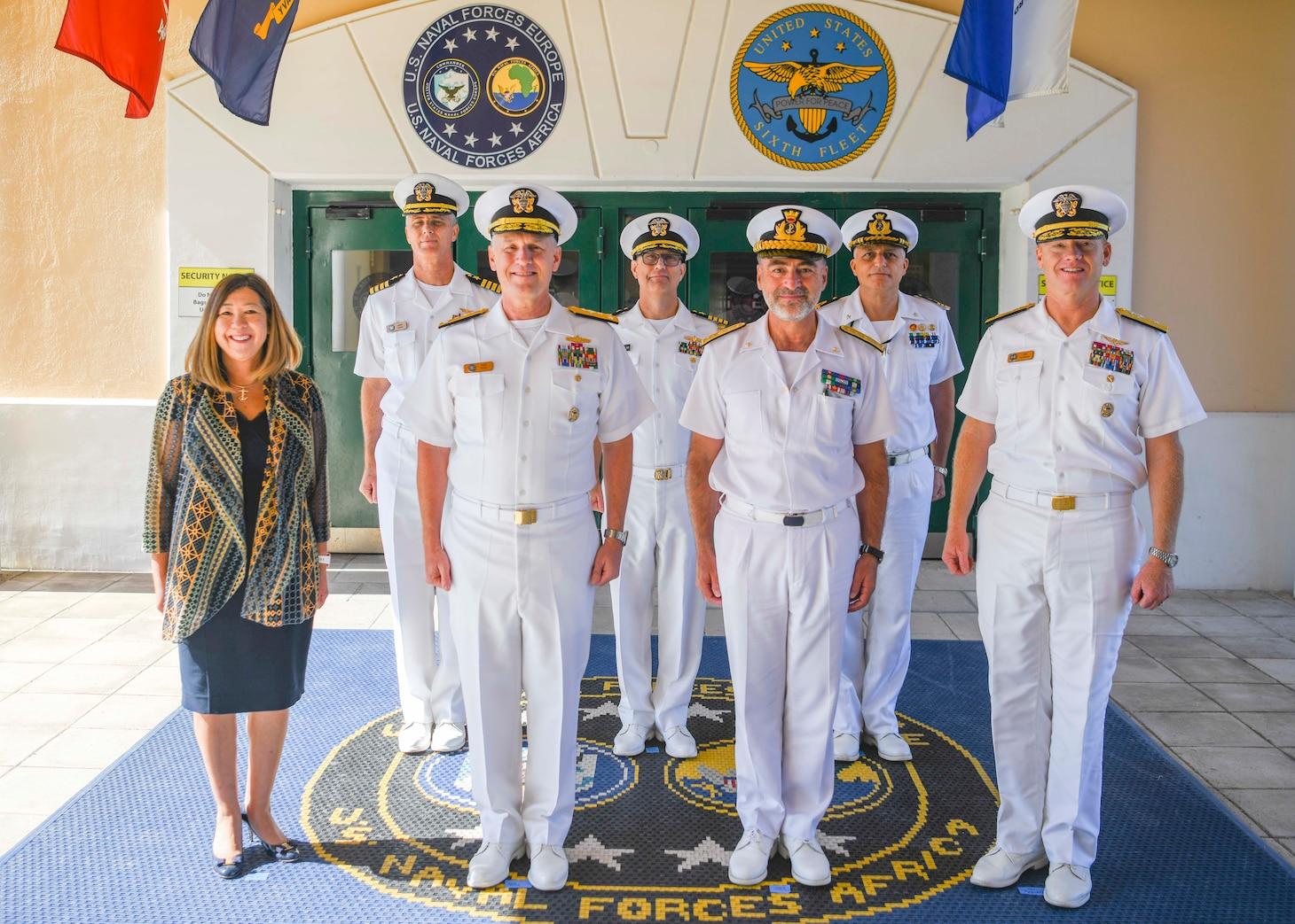 Vice Adm. Gene Black, commander, U.S. Sixth Fleet, right, shakes hands with Vice Adm. Enrico Credendino, Commander in Chief Italian Naval Fleet,