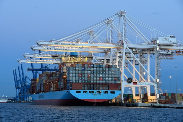 The Gunde Maersk at the Port of Baltimore.(Photo courtesy of the Maryland Department of Transportation, Maryland Port Administration)