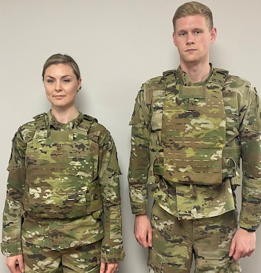 Airmen wear the same size protective gear after re-engineering for better fit and safety.  (U.S. Air Force photo/Taylor Harrison).