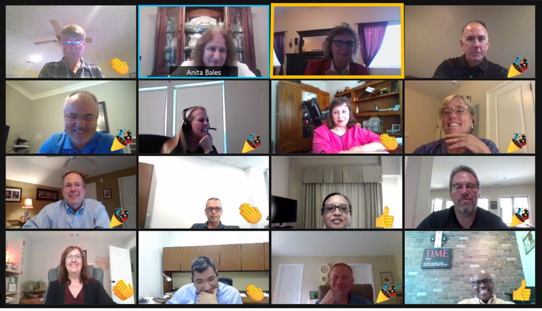 collage of 16 people during a webex award ceremony.