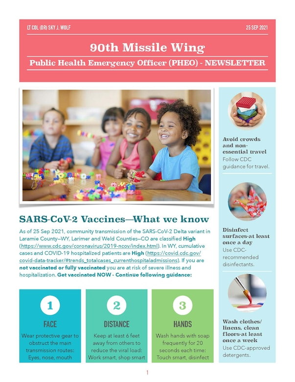The 90th Missile Wing Public Health Emergency Officer explains the data behind SARS-CoV-2 and being vaccinated.  With the Delta variant spreading, it's vital that people are taking the proper safety precautions. (U.S. Air Force graphic by Lt. Col. Sky Wolf.)