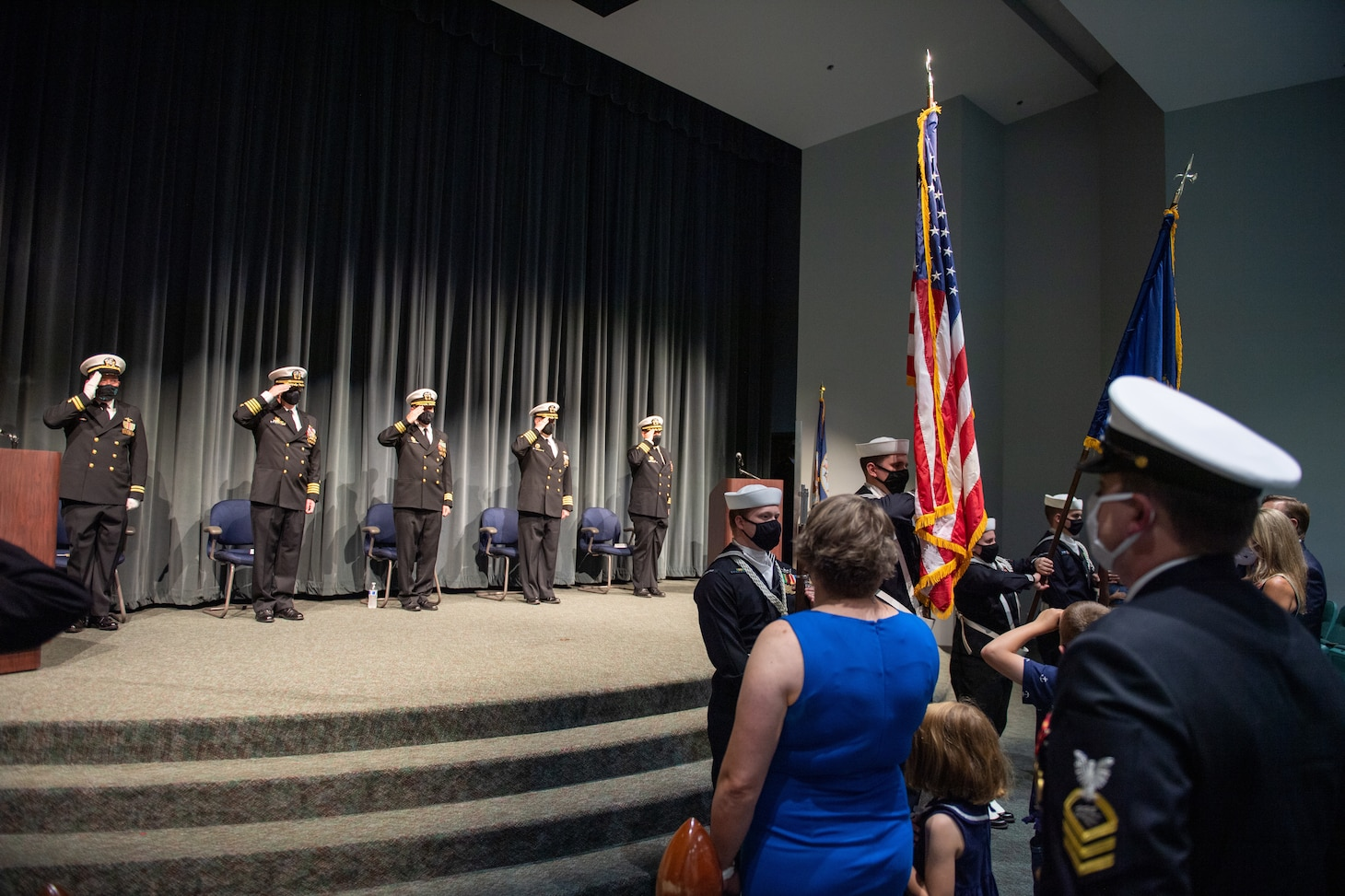 Naval Base Kitsap Color Guard parade the colors during the USS Maine (SSBN 741) Gold Crew change of command ceremony at Naval Undersea Museum in Keyport, Washington Sept. 9, 2021. During the ceremony, Cmdr. Travis Wood relieved Cmdr. Robert Garis as commanding officer of USS Maine (SSBN 741) Gold Crew. (U.S. Navy Photo by Mass Communication Specialist 2nd Class Emilia C. Hilliard)