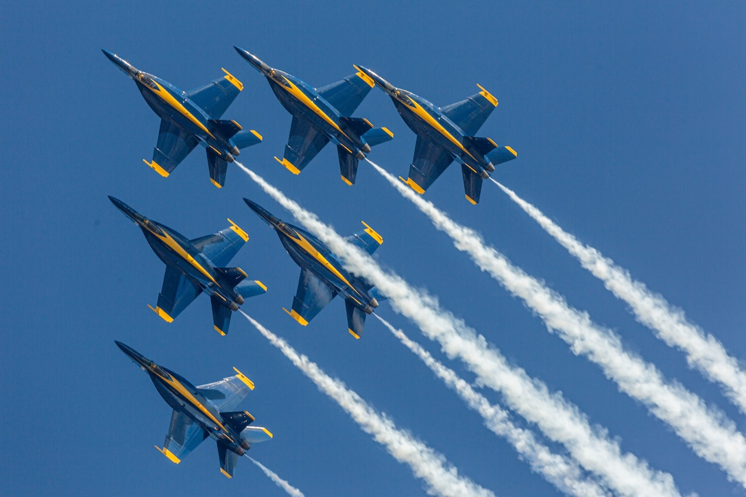 The Blue Angels perform during the 2021 Air Show at Marine Corps Air Station Cherry Point, North Carolina, Sept. 25, 2021. The air show is MCAS Cherry Point and the 2nd Marine Aircraft Wing's immense, community outreach event that is a show of appreciation to its regional neighbors and community partners for their enduring support in mission success. (U.S. Marine Corps photo by Chief Warrant Officer 2 Bryan Nygaard)
